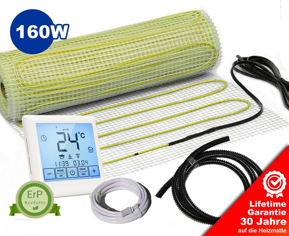 Elektrische Heizmatten-Set Bodenheizung Fliesen Touch-Thermostat